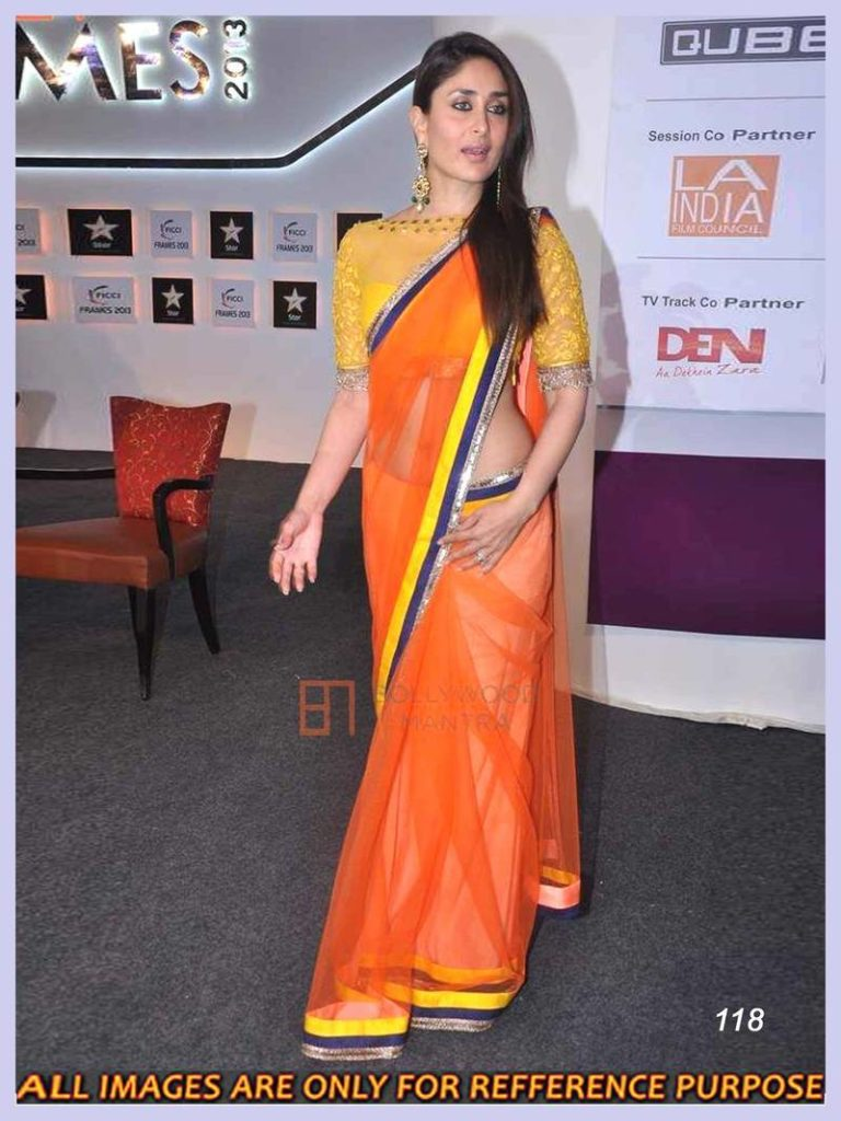d1be2f82868bb2 Kareena Kapoor saree - Style Orange Saree at FICCI Frames 2013 Inauguration