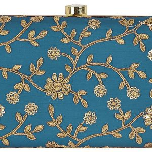 Online Shopping Latest Blue Color Bridal Clutch with sling