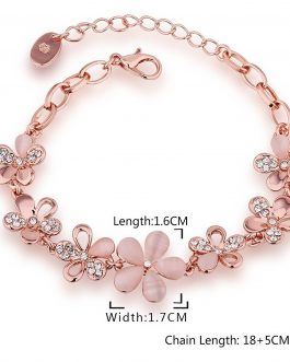 Rose Gold Plated Floral Bloom Bracelet For Women & Girls