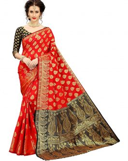 Banarasi Red Silk Saree With Blouse Piece