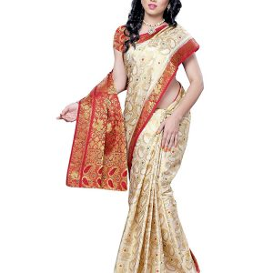 Off White color Silk Saree with maroon border