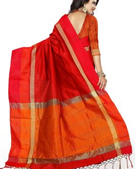 Latest Red Silk Saree with blouse Piece