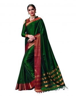 Latest Green Cotton Saree