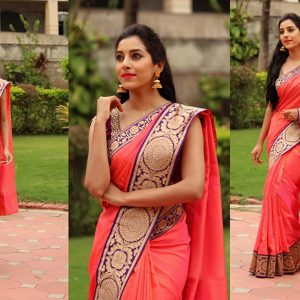 Pink Cotton Saree With Blouse Piece