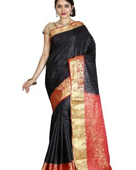 Kanjivaram Artificial Silk Black Saree