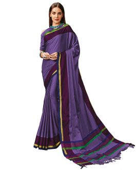 Lavender color Cotton Saree With Blouse Piece