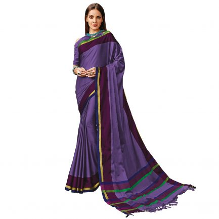 Lavander color cotton saree