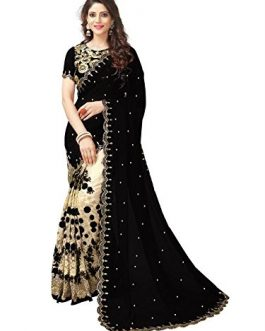 Half And Half black Georgette Saree