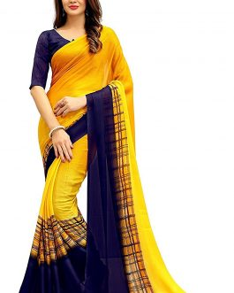 Yellow Chiffon Saree With Blouse piece