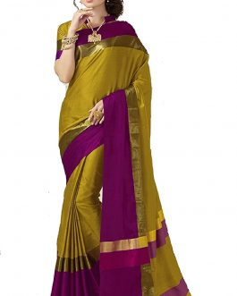 Mehendi Color Cotton Silk Saree with Blouse Piece