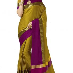 Mehendi Color Cotton Silk Saree