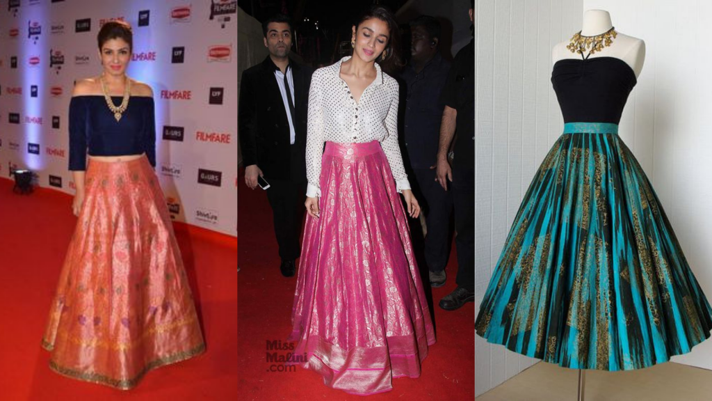 different skirts made from saree