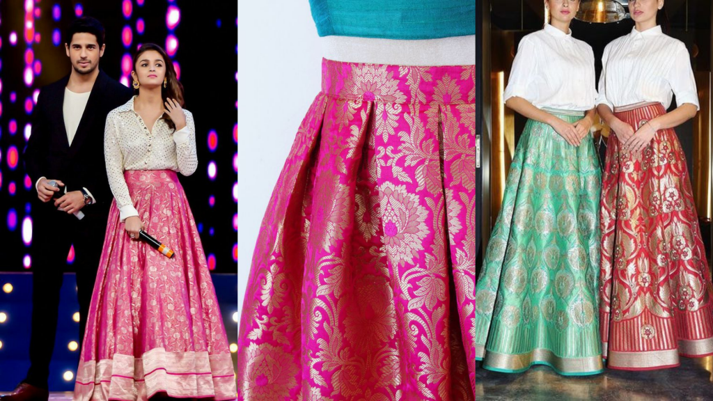 recycle saree to make skirts