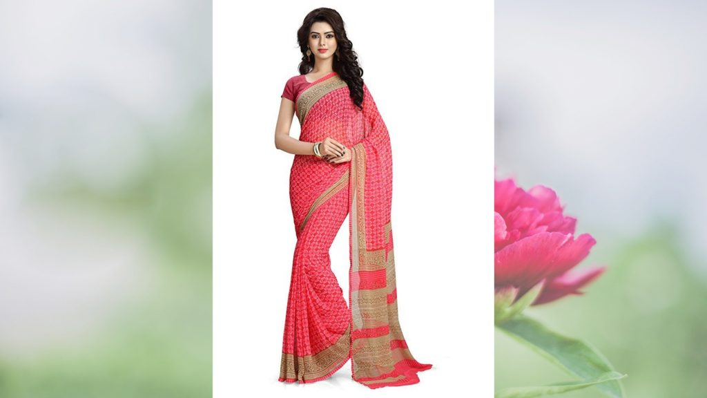 Pink Saree below 500