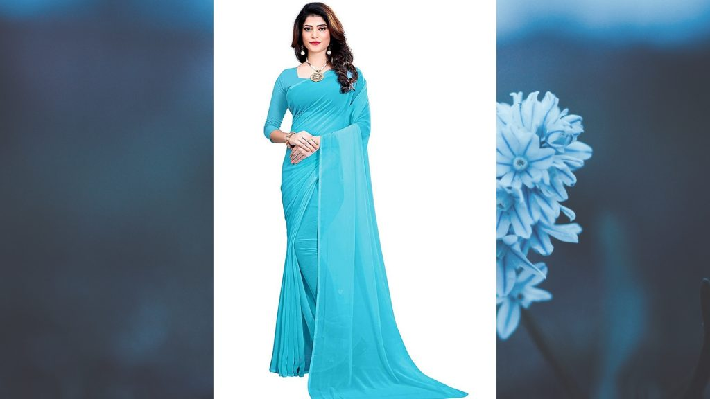 Plain Georgette Blue Sarees below 500