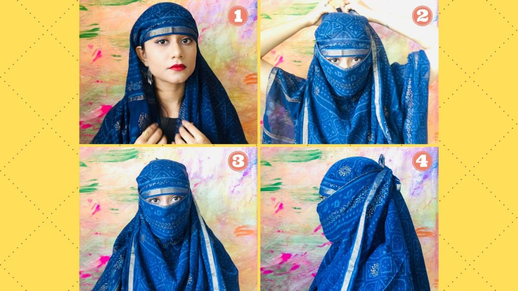 How to cover face with dupatta step by step