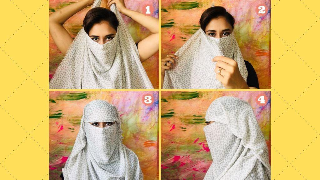 How to cover face with dupatta