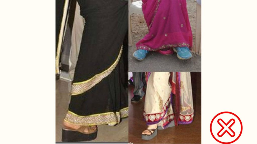 Wrong shoes selection with saree